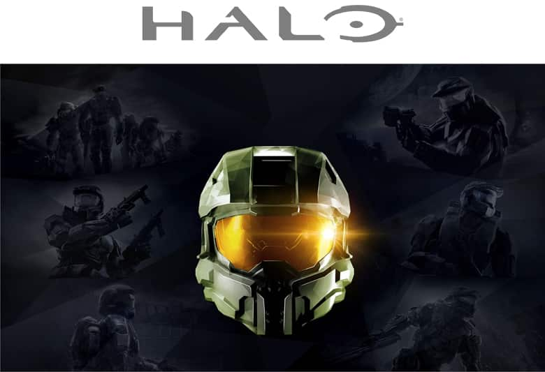 Halo logo. Master chief in his Spartan helmet in green.