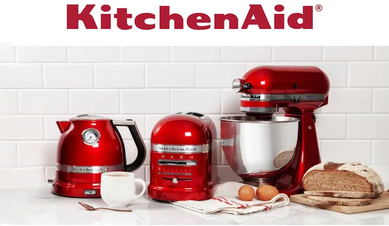 Kitchenaid logo. Kitchenaid red kettle, toaster and stand mixer.