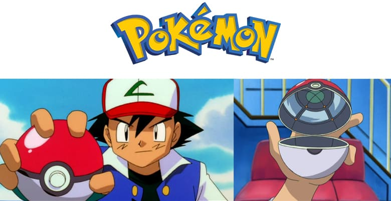 Pokemon logo. Ash holding a Pokeball and Ash holding a Pokeball which is open.