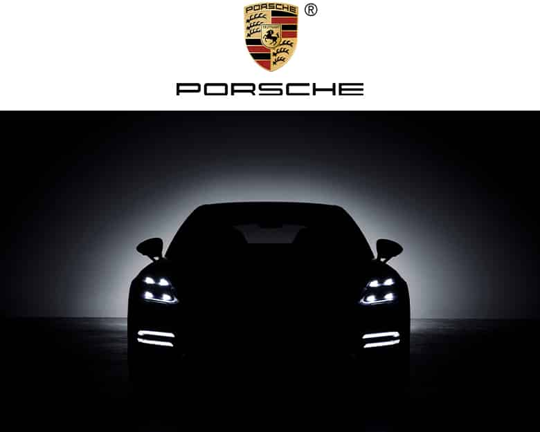 Porsche logo. A Porsche 911 in silhouette with the 4 LED signature lights.