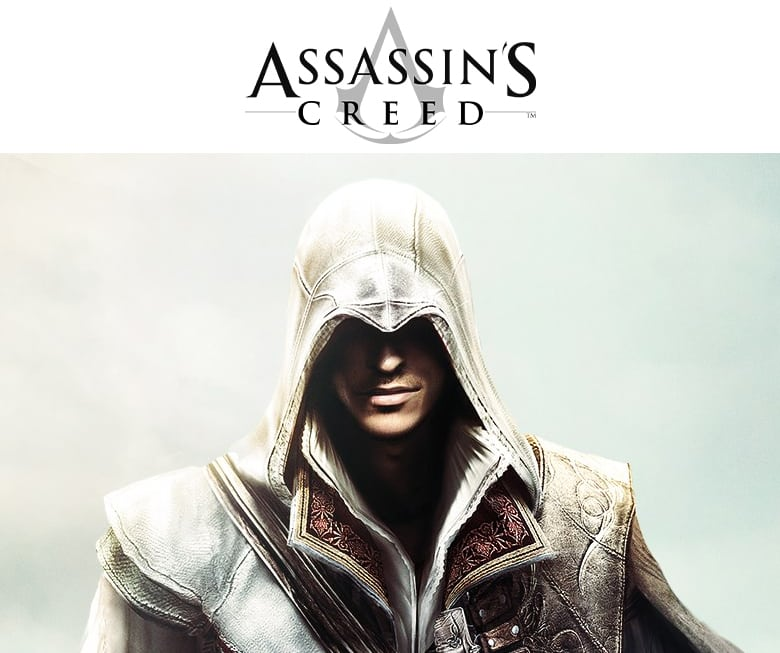 Assassin's Creed logo. Ezio with the signature Assassin's Creed hood.
