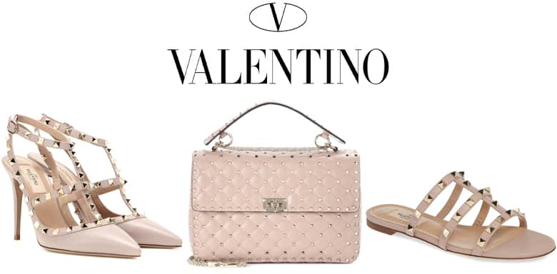 Valentino logo. Pink Valentino studded products, heels, bag, and flats.