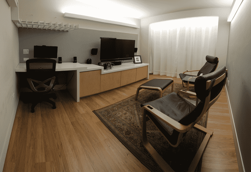 Lounge seats in front of monitors in a MediaScience Lab