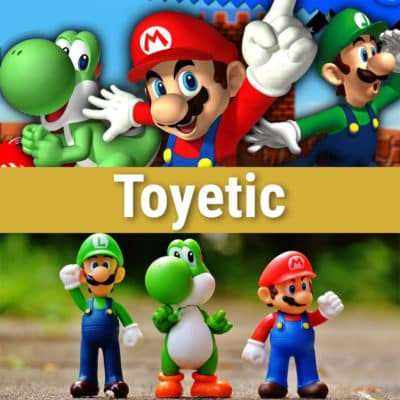 Toyetic. Yoshi, Mario and Luigi as both video game characters and toys.